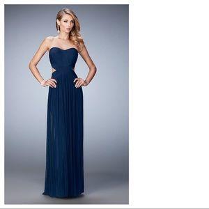 La Femme Strapless Cut Out Navy Evening Gown Dress